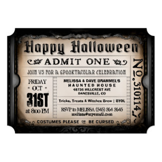 Happy Halloween Ticket Invitation