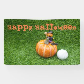 Happy Halloween to golfer with pumpkin Banner