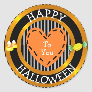 Halloween Themed Happy Halloween To You Stiched Heart Candy Sticker