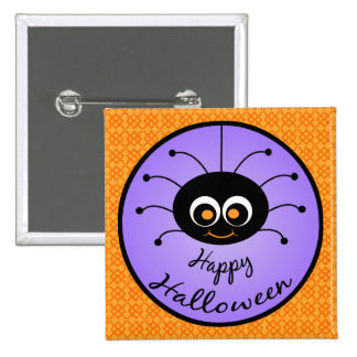 Happy Halloween Toon Spider Pinback Button