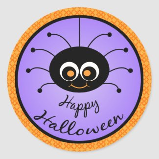 Happy Halloween Toon Spider Stickers