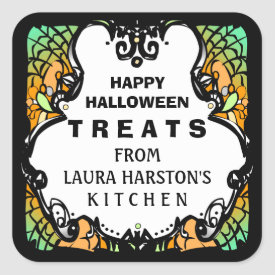Happy Halloween Treats Green Orange Custom Label Square Sticker