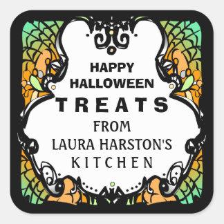 Happy Halloween Treats Green Orange Custom Label Square Sticker