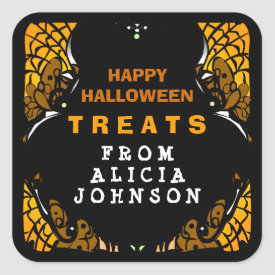 Happy Halloween TREATS Orange & Black Custom Label Square Sticker