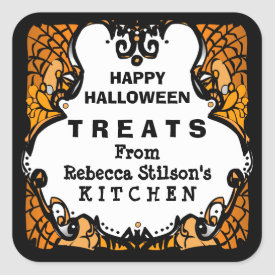Happy Halloween Treats Orange Black & White Custom Square Sticker