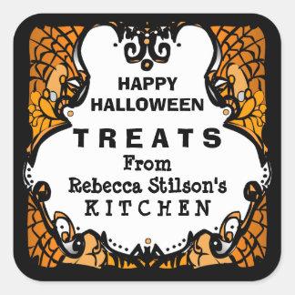 Happy Halloween Treats Orange Black & White Custom Square Sticker