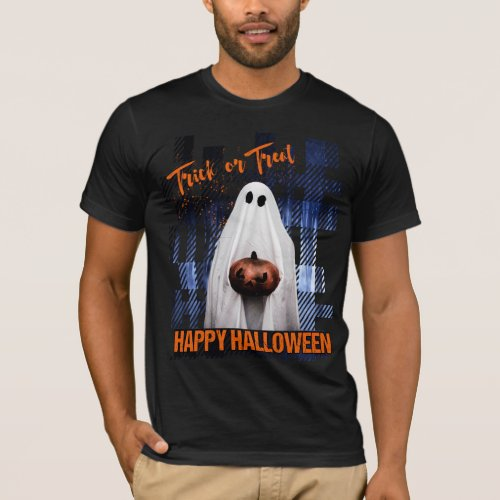 HAPPY HALLOWEEN TRICK OR TREAT MENS SCARY GHOST T_Shirt