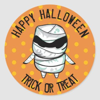 Happy Halloween Trick or Treat Mummy Stickers