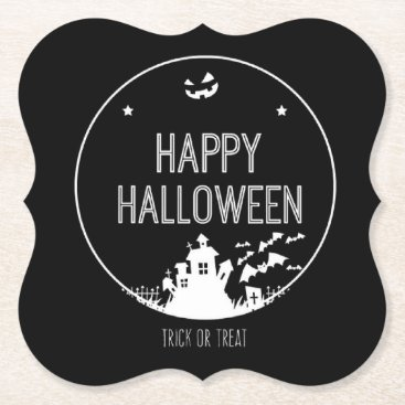 Halloween Themed Happy Halloween Trick Or Treat Paper Coaster