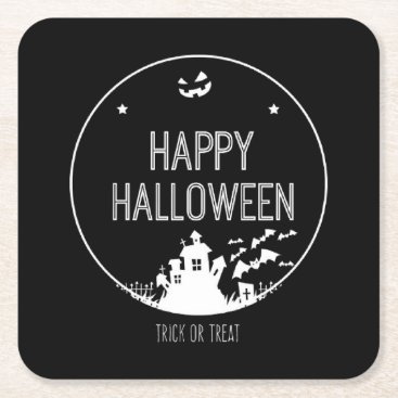 Halloween Themed Happy Halloween Trick Or Treat Square Paper Coaster