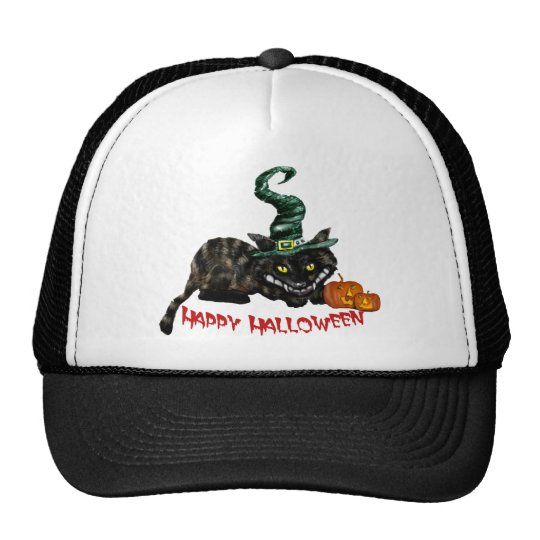 Happy Halloween & Trick or Treat Witches Cat Trucker Hat