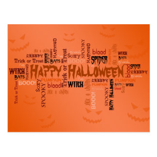 Happy Halloween Typography - Postcard