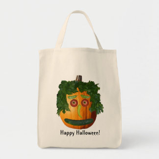 Happy Halloween! - Uncut Pumpkin Face Tote Bag