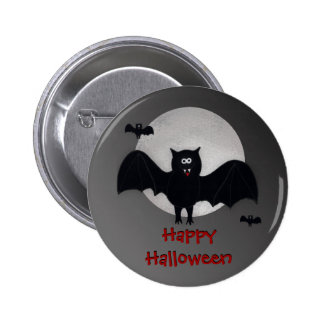 Happy Halloween Vampire Bat Button