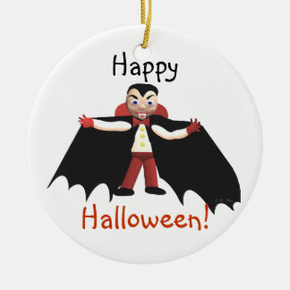 Happy Halloween Vampire Ceramic Ornament