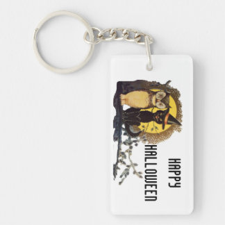 Happy Halloween vintage cat and owl Keychain