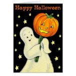 Happy Halloween Vintage Ghost and Pumpkin Card