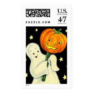 Happy Halloween Vintage Ghost and Pumpkin Postage