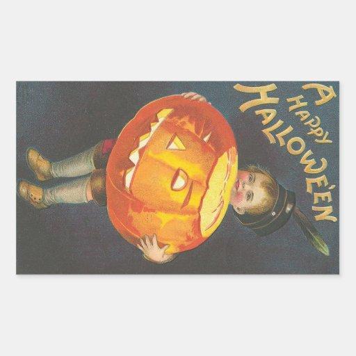 Happy Halloween - Vintage Halloween Art Rectangular Sticker