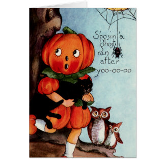 Happy Halloween Vintage Illustration Greeting Cards