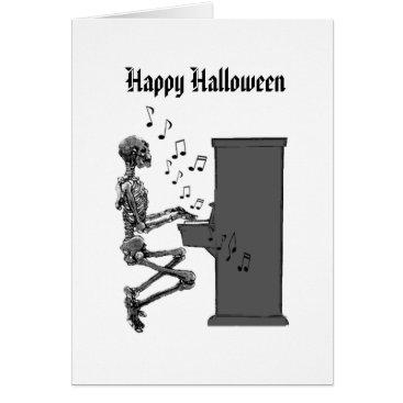 Halloween Themed Happy Halloween Vintage Musical Skeleton Piano Card