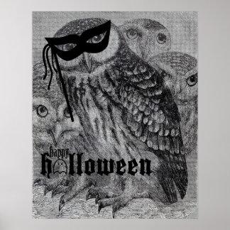 Happy Halloween Vintage Owl Print