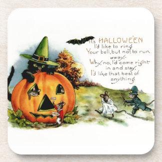 Happy Halloween Vintage Postcard Art Coaster