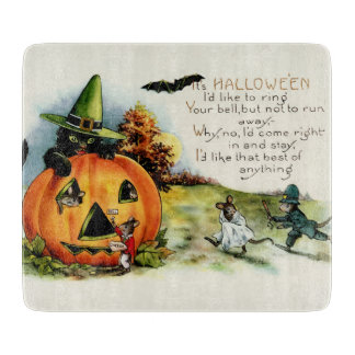 Happy Halloween Vintage Postcard Art Cutting Board
