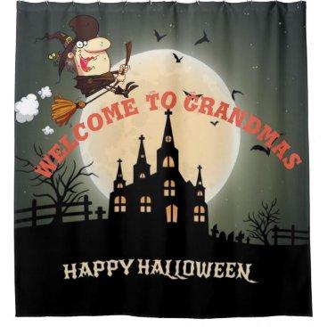 Halloween Themed Happy Halloween Welcome To Grandmas Shower Curtain