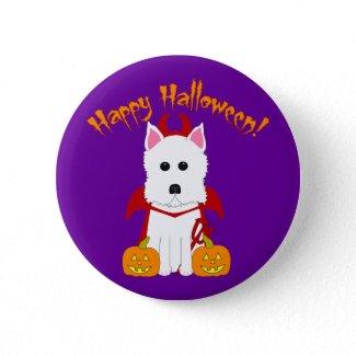 Happy Halloween Westie Devil button