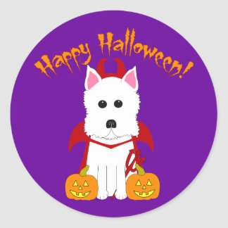 Happy Halloween Westie Devil Classic Round Sticker