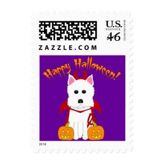 Happy Halloween Westie Devil stamp