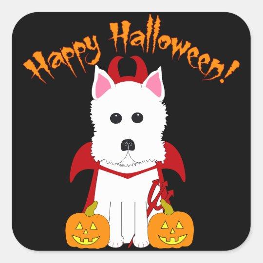 Happy Halloween Westie Devil Stickers