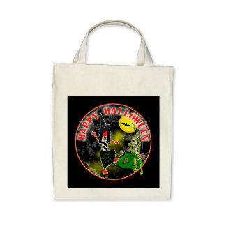 Happy Halloween Whimsical Design Canvas Bag