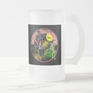 Happy Halloween Whimsical Design Frosted Glass Beer Mug