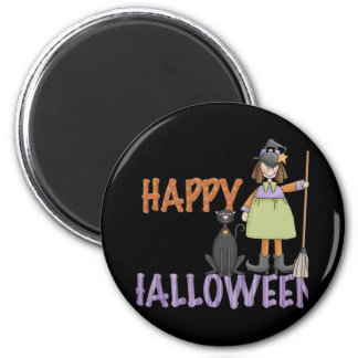 Happy Halloween Witch and Cat 2 Inch Round Magnet