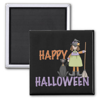 Happy Halloween Witch and Cat 2 Inch Square Magnet