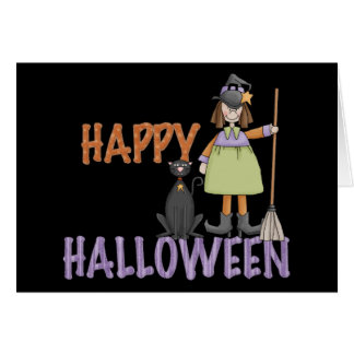 Happy Halloween Witch and Cat Card
