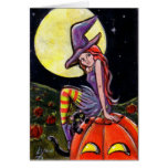 Happy Halloween Witch and Cat Greeting Card