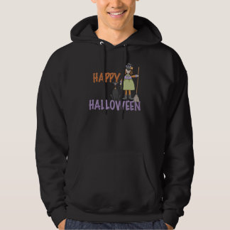 Happy Halloween Witch and Cat Hoodie
