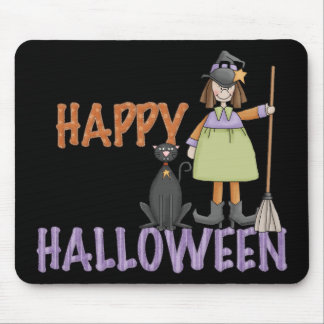 Happy Halloween Witch and Cat Mouse Pad
