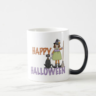 Happy Halloween Witch and Cat 11 Oz Magic Heat Color-Changing Coffee Mug