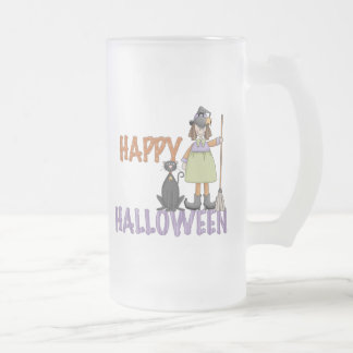 Happy Halloween Witch and Cat 16 Oz Frosted Glass Beer Mug