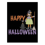Happy Halloween Witch and Cat Postcard