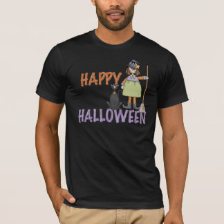 Happy Halloween Witch and Cat T-Shirt