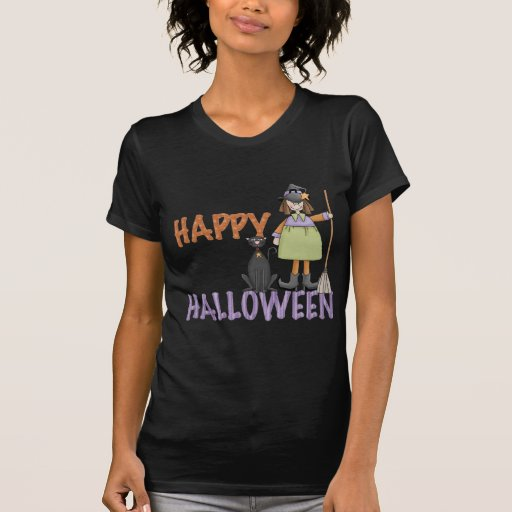 Happy Halloween Witch and Cat Tees