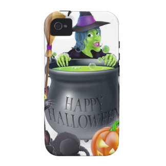 Happy Halloween Witch and Cauldron iPhone 4 Cases