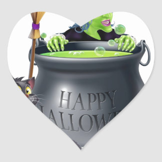 Happy Halloween Witch and Cauldron Heart Sticker