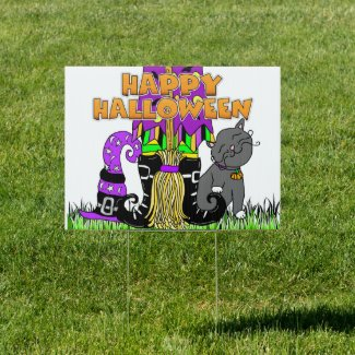 Happy Halloween Witch, broom and Cat Sign