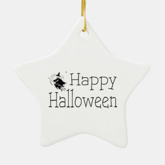 Happy Halloween Witch Broom Stick Ceramic Ornament
